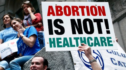 banner where written abortion is not healthcare