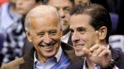Joe Biden and Hunter Biden laugh together