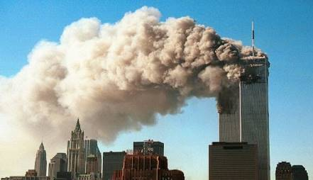 Image shows 9/11 attack on twin tower