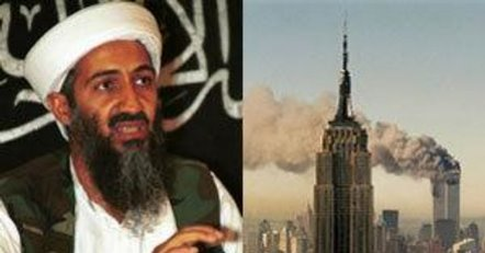 A picture showing both Osama Bib Laden and WTC attack on 9/11