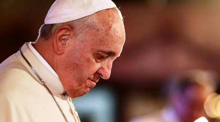Pope Francis is praying to God