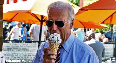 Biden is eating ice-cream