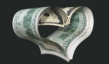 An image of heart made by money